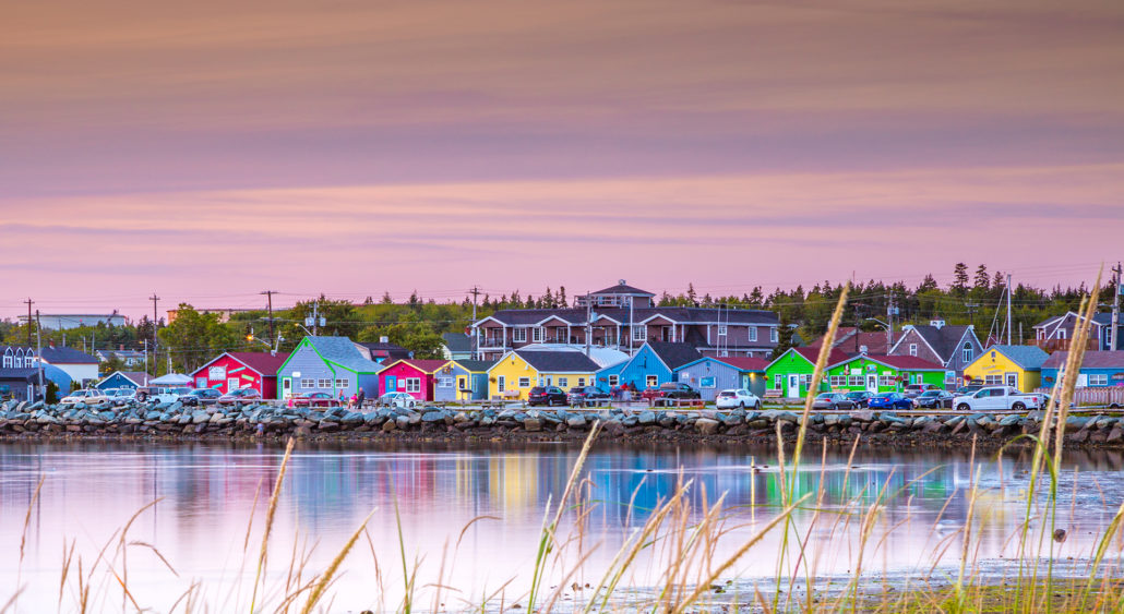 Colourful shops on the boardwalk Fisherman's Cove, Nova Scotia